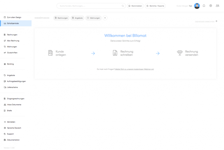Billomat Test – Onboarding