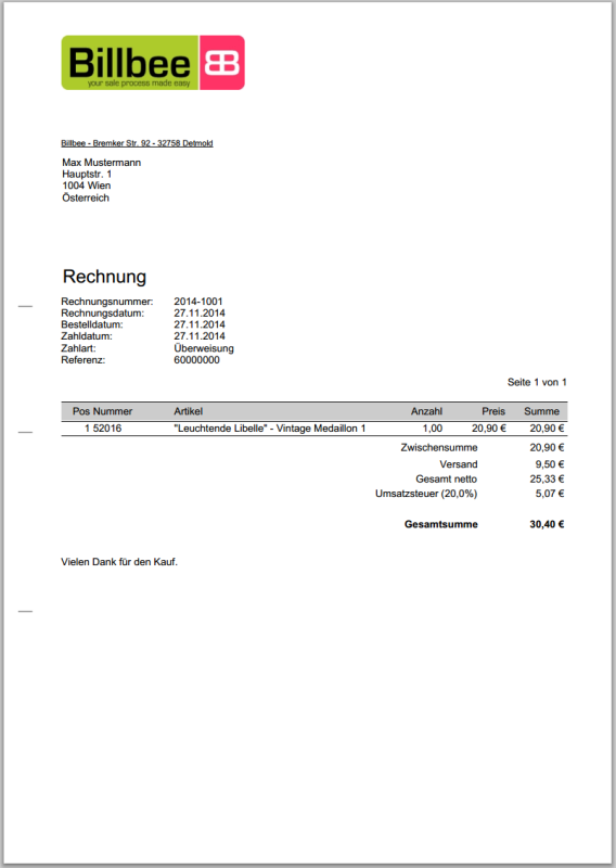 Billbee Rechnung