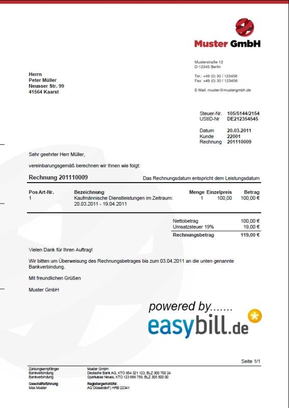 Easybill Rechnungsvorlage