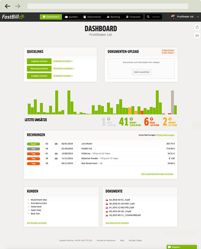 Fastbill Dashboard