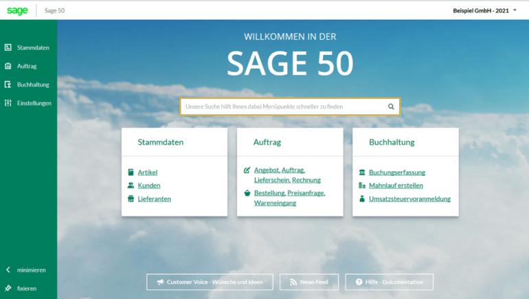 Sage 50 Cloud Bereiche