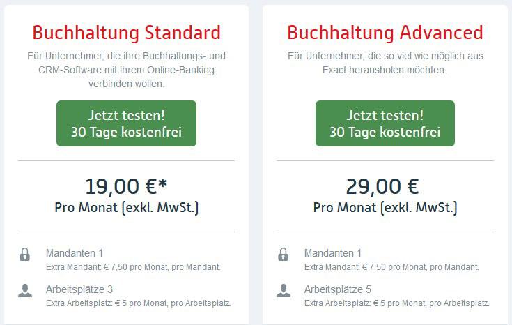 Exact Buchhaltungspreise